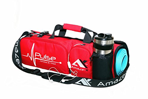 AmazeX New 2016 Model Pulse - Bright Fashionable Sports and Multifunctional Fitness & Yoga Gym Mat Bag with Open Ends, Mobile and Tab, Water Bottle Holder - Keeps Your Mat Dry and Odorless (RED)