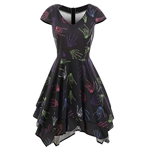 Halloween Womens Dresses Clearance Ladies Halloween V-Neck Skeleton Hands Printed Gown Evening Party by deatu (Black,S)