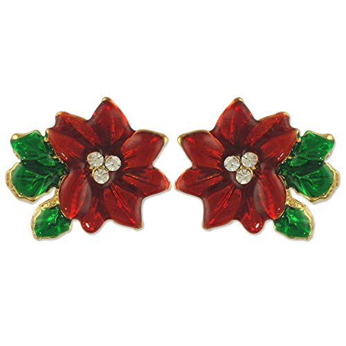 CRYSTAL CHRISTMAS RED POINSETTIA FLOWER BROOCH PIN EARRINGS MADE WITH SWAROVSKI ELEMENTS (Earrings) - Brooch Pin Earrings
