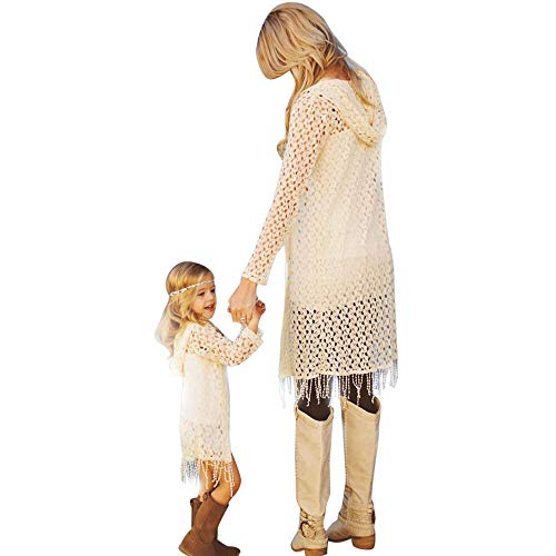 Mommy Me Dress,Women Baby Girls Flower Shawl Kimono Cardigan Tops Mom&Me Family Clothes Mother Daughter Matching Shirts (White -2, Girls-3T)]()