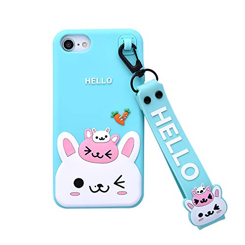 Bunny Case for iPhone 7/iPhone 8 Case,for iFunny Cute 3D Cartoon Kawaii Radish Rabbit Shockproof Soft Silicone Rubber Case with Wrist Strap for iPhone 6 6S/iPhone 7 8(4.7inch) (Radish Rabbit Green) (Iphone 4 Case Bunny Rabbit)