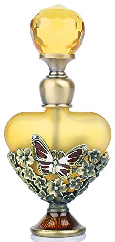 YUFENG Vintage Butterfly Pewter and Glass Perfume Bottle with Diamand for Woman,Friends
