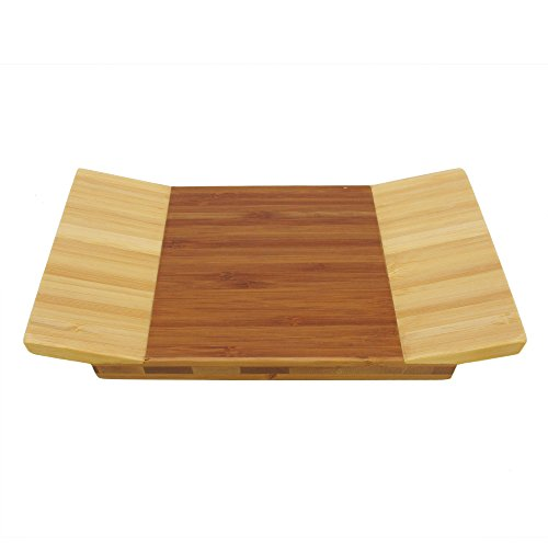 """BambooMN Brand - Bamboo Sushi Board/Serving Tray - Special Desgin - 8.3"""" x 4.7"""" x 1.2"""" - Carbonized Brown, 1 pcs"""