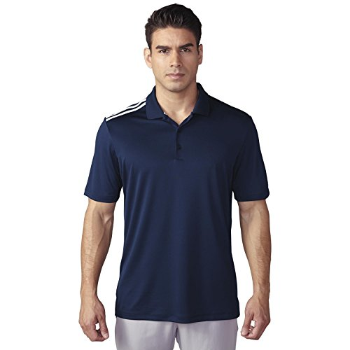 adidas Golf Men's Climacool 3-Stripes Polo Shirt, Navy/White, - Stripes Adidas 3 Climacool