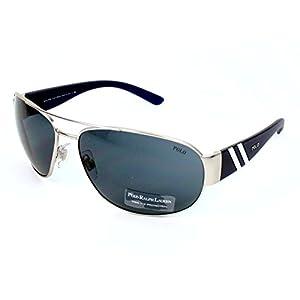 Polo Ralph Lauren Men's 0PH3052 904687 Aviator Sunglasses,Matte Silver Frame/Grey Lens,One Size