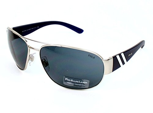 Polo Ralph Lauren Men's 0PH3052 904687 Aviator Sunglasses,Matte Silver Frame/Grey Lens,One - Polo Glasses Men