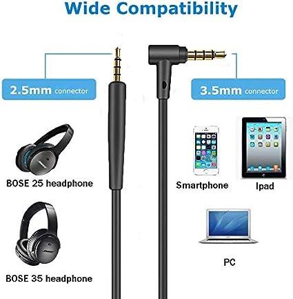Ersatz Audiokabel Kopfhörer Kabel Für Bose Qc25 Qc35 Quietcomfort 25 Quietcomfort 35 On Ear 2 Oe2 Oe2i Soundtrue Soundlin Kopfhörer Inline Mic Fernbedienung Schwarz Elektronik