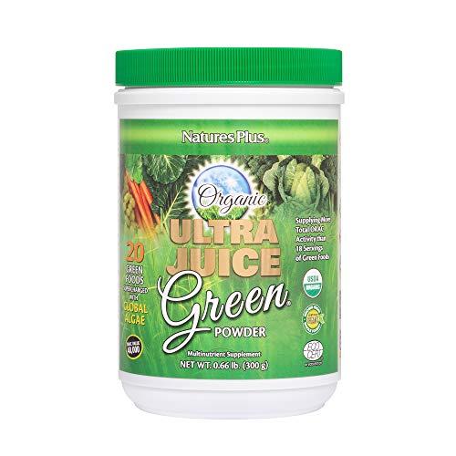 NaturesPlus Ultra Juice Green Powder - .66 lbs, Green Drink - Multinutrient Supplement, 20 Whole Green Foods & Global Algae- Non-GMO, Organic, Gluten-Free - 30 Servings (Ultra Greens Powder)