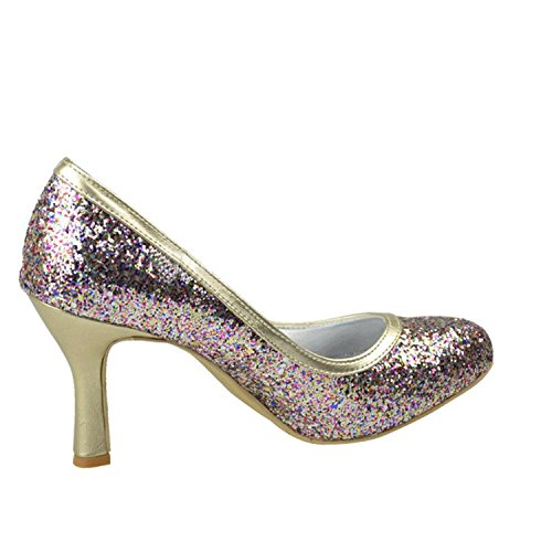 Kevin Fashion mz1210Ladies Ronda Toe brillante novia boda formal fiesta noche Prom zapatos de bombas morado