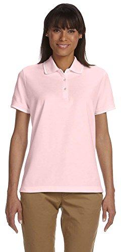 Devon & Jones Ladies Pima Piqué Short-Sleeve Tipped Polo, 2XL, PINK/WHITE - Ladies Pima Pique Sport Shirt