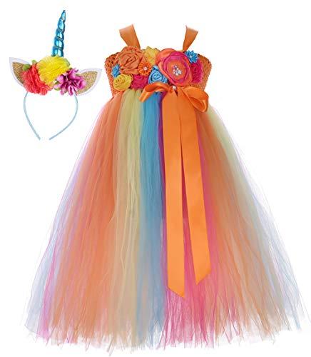 Tutu Dreams Easter Unicorn Costumes Kids Birthday Fluffy Layered Orange Tutu Dress Dance Ball Gown (8, Orange)]()