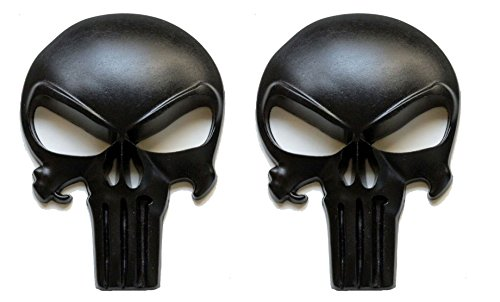 Premium Matte Black 3D Metal Decal / Sticker (2 pack) - Tactical Skull for Gun Magazine, Car, Truck, Motorcycle, etc.