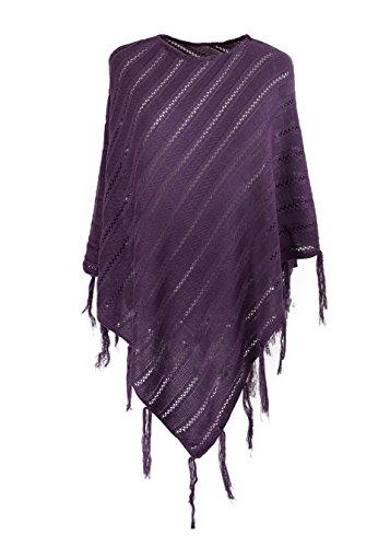 Womens Ladies chaqueta sudadera con Jersey Poncho Cape Wrap chal Mfaz Morefaz Ltd violeta