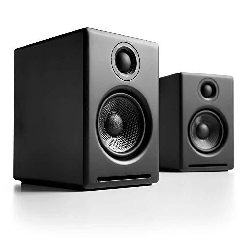 Audioengine A2+ Wireless 60W Powered Desktop Speakers, Bluetooth aptX Codec, Built-in 16Bit DAC and Amplifier (Black) (Wireless Desktop Speaker)
