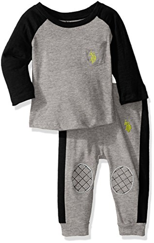 U.S. Polo Assn. Baby Boys Long Sleeve Tee and French Terry Joggers