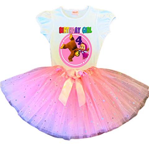 Masha and The Bear Birthday Tutu 4th Birthday Party Dress Pink Tutu Outfit Shirt