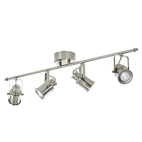 Alsy 20555-000 3 ft. 4-Light Brushed Nickel Integrated LED Industrial Fixed Track Lighting Kit Bar