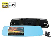 """SmarTure 1296P Super HD Dual Camera 5"""" IPS Screen Rearview Mirror Dashcam M511 with HDR,Reverse Parking System,Parking Protection Mode (without SD card)"""