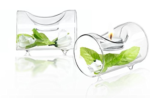 JoyJolt Set of 2 Single Clear Glass TeaLight Candle Holders Centerpiece TeaLight Holder