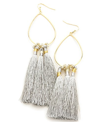 Metal Bead Teardrop Earring (Women's Bead and Dangling Tassel on Metal Teardrop Fish Hook Pierced Earrings, Gray/Gold-Tone)