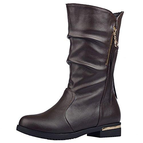 mujer con cremallera Confort COOLCEPT botas para montar de marrón con vxTP1qwHR