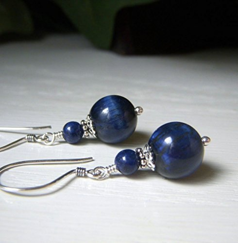 Blue Tiger's Eye Earrings - Sterling Silver Drop - Round Genuine Gemstone with ()