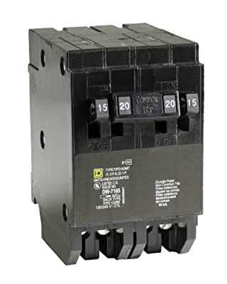 Square D by Schneider Electric HOMT1515220CP Homeline 2-15-Amp Single-Pole 1-20-Amp Two-Pole Quad Circuit Breaker