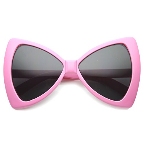zeroUV - Women's Colorful Oversize Large Bow Tie Shape Butterfly Sunglasses 60mm (Pink / Smoke)