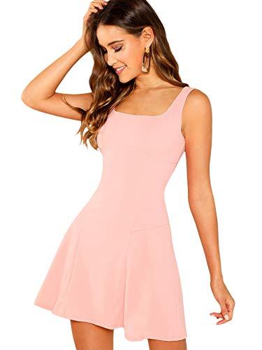 e6bb2ddd5391 Floerns Women s Casual Sleeveless Summer Flared Tank Party Mini A-line  Skater Dress Pink M