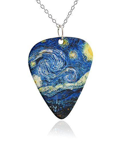 (FashionJunkie4Life Van Gogh Starry Night Guitar Pick Pendant Necklace, Stainless Steel, 18
