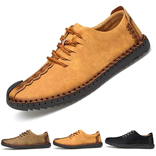 ziitop Men's Suede Casual Shoes Leather Oxford Shoes British Style Handmade Lace up Loafers Flats Sneakers Black Brown Yellow ... (45 M EU / 10.5 D(M) US, Yellow)