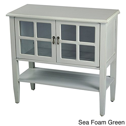 Heather Ann Creations Modern 2 Door Accent Console Cabinet With 4 Pane Glass Insert and Bottom Shelf Seafoam (2 Door Chest)