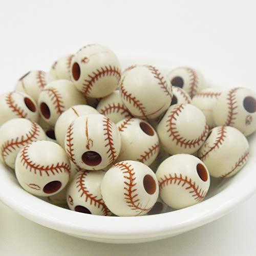 Calvas 25PCs 12mm,Hole Size (4mm), Baseball Relief Acrylic Round Loose Beads Making Necklace Bracelet DIY Jewelry Charm Beads]()