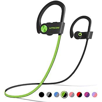 1918408f453 LETSCOM Bluetooth Headphones IPX7 Waterproof, Wireless Sport Earphones  Bluetooth 4.1, HiFi Bass Stereo Sweatproof Earbuds w/Mic, Noise Cancelling  Headset ...