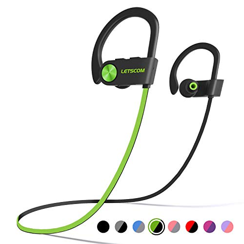 (LETSCOM Bluetooth Headphones IPX7 Waterproof, Wireless Sport Earphones Bluetooth 4.1, HiFi Bass Stereo Sweatproof Earbuds w/Mic, Noise Cancelling Headset for Workout, Running, Gym, 8 Hours Play Time)