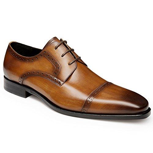 Gifennse Mens Lace Up Oxford Kleding Klassieke Schoenen Brown-2