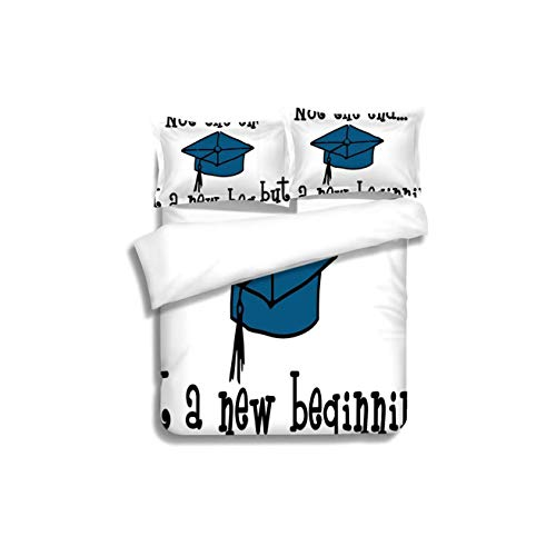(VROSELV-HOME Style 3D Digital Print Bedding Sets,Graduation Decor Not End But Beginning Motivational Phrase Graduate Cap Mortarboard Decorative 100% Cotton Beding Linens for Kids Children)