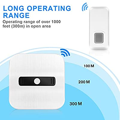 PECHAM Wireless Doorbell Kit - 1000ft(300m) Long Range Wireless Remote Control, 55 Chimes & LED Indicator - White (2T1)