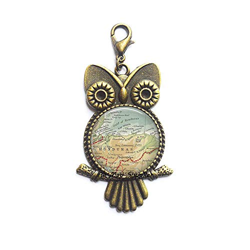 AllMapsupplier Fashion Owl Zipper Pull,Honduras map Lobster Clasp,Honduras map Owl Zipper Pull,Honduras Lobster Clasp,Fashion map Jewelry,Resin Lobster Clasp,A0253 (Honduras Jacket)