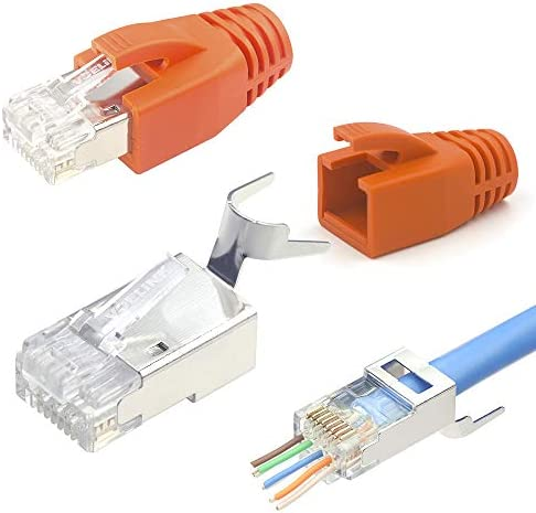 VCELINK Cat7 RJ45 Pass Through connectors 30 Pack, 2-Piece CAT6A RJ45 Plugs Metal Shielded, EZ RJ45 8P8C Modular Plug with CAT7 CAT6A Strani Relief Boots-Orange