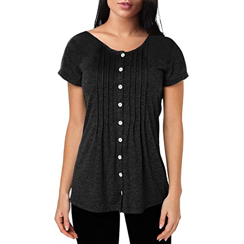 Fitfulvan Women's Ruffled Single-Breasted Pullover Solid Pleated Slim t-Shirt Round Neck Basic Short Sleeve Tops - T-shirt Junior Single
