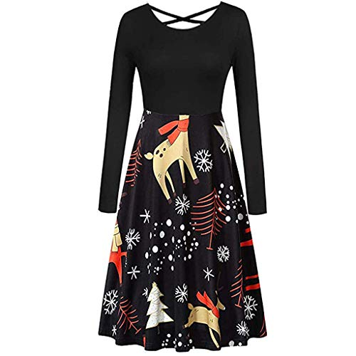 Opeer Christmas Dresses for Women Glitter Long Sleeves Sexy Back Cross Vintage Printed Pleated Evening Dress (Black, L)