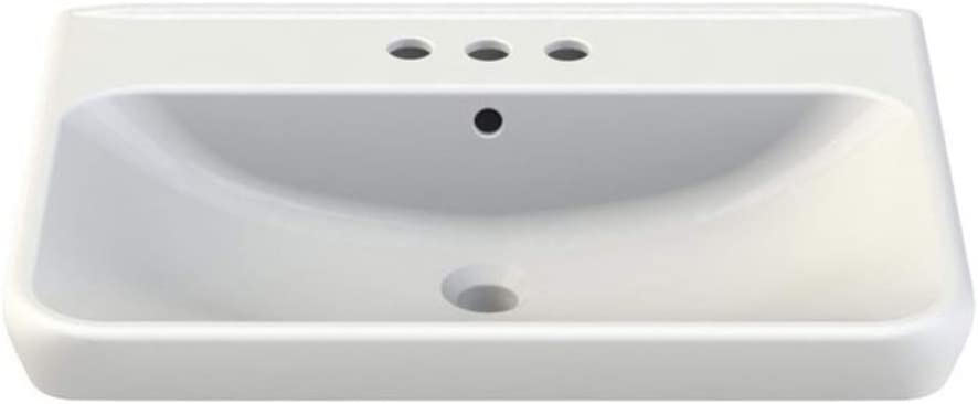 CeraStyle 030600-U-Three Hole Belo Rectangle Ceramic Wall Mounted//Self Rimming Sink White