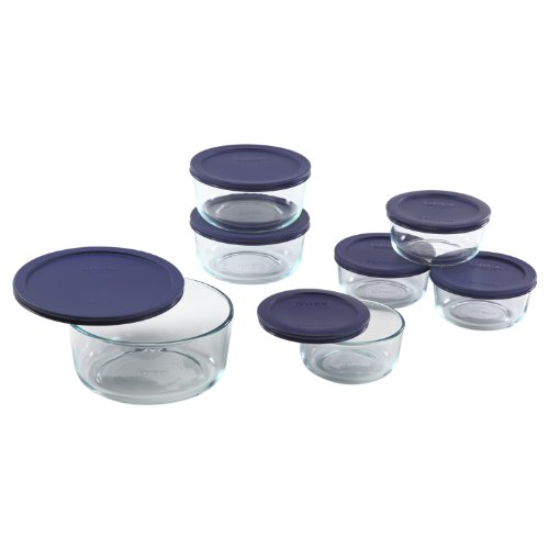 Pyrex 6022369 Storage 14-Piece Round Set, Clear with Blue Lids