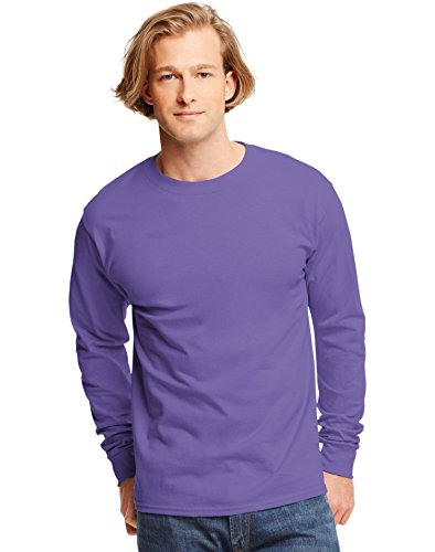Hanes TAGLESS Long Sleeve T-Shirt 5586 (Purple, XXX-Large)