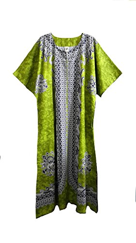 "Ladies verde algodón Tejido impresión manga corta caftán (con 2bolsillos de cremallera, etiqueta). 15"". Talla única, UK 12–�?6."