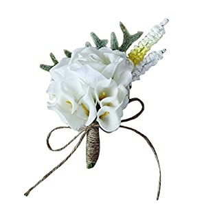 BESTOYARD Wedding White Rose Boutonniere Wedding Party Bride Groom Decorations Wedding Prom Boutonniere Set Hand Flower 78