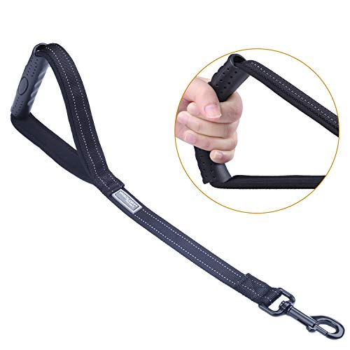 Vivaglory Short Dog Leash 18 Inch Double Webbing Nylon Reflective Pet Leashes for Training, Rubber&Padded Handle Dog Lead for Large Dogs