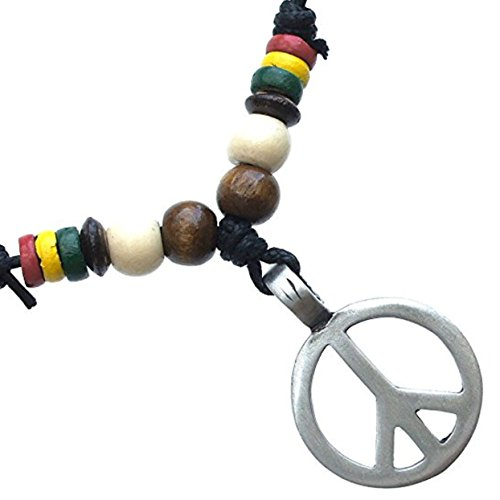 Peace Sign Pewter Pendant w handmade adjustable beads decorated necklace