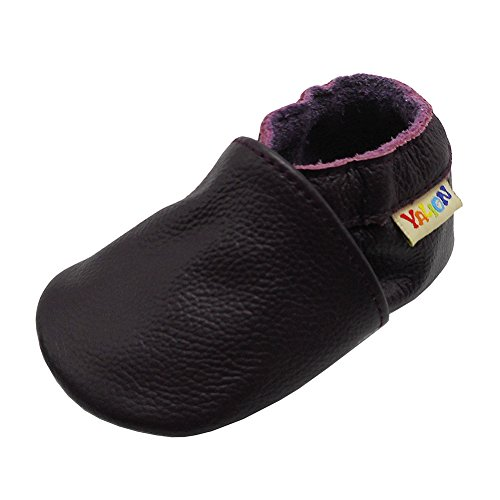 ls Shoes Crawling Slipper Toddler Infant Soft Leather First Walking Moccs(Dark Purple,6-12 Months) ()